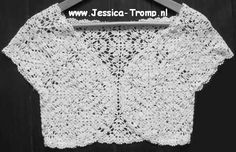 "Jessica Tromp's tutorials for making your own crochet bolero are a good starting point; you will be able to design a bolero made to your measurements. Please note that these are not straightforward ""plug-and-play"" patterns in the way a lot of North Americans are used to."