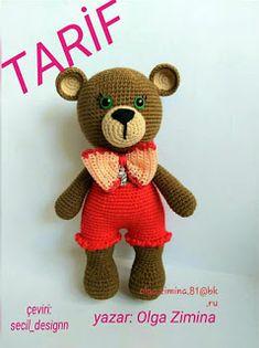 Crochet Teddy Bear Pattern, Crochet Patterns Amigurumi, Knitting Patterns, Teddy Bear Crafts, Amigurumi Animals, Coaster Crafts, Sewing Patterns For Kids, Bear Toy, Cute Bears