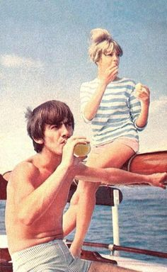 May 1964. George and Pattie sailing aboard the Maylis off Moorea in the Tahitian islands.