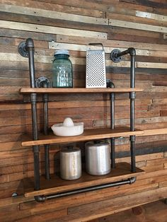 3-Shelf Industrial Gas Pipe Wall Shelf with by TheAntiqueAddicts