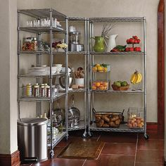 Chrome Pantry Shelving Four-Tier Corner Shelf & Liners Open Pantry, Kitchen Pantry, Rustic Kitchen, Kitchen Decor, Kitchen Cabinets, Unfitted Kitchen, Kitchen Appliances, Pantry Shelving, Storage Shelves