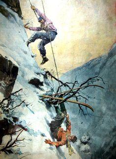 """La Domenica del Corriere Anno XXXX n.3 16 Gennaio 1938 - XVI - (ultima pagina) """"Salvataggio incredibile. Un giovane sciatore milanese, precipitato in un burrone tra i monti dell'Alto Verbano, rimaneva miracolosamente sospeso nel vuoto, con gli sci impigliati in un cespuglio. Egli si tenne immobile in quella terribile posizione, per non precipitare, mentre i compagni riuscivano lentamente a calargli un nodo scorsoio. Poi un animoso scese fino a lui e lo portò al sicuro."""""""