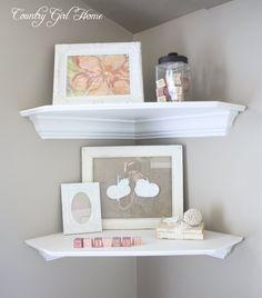 Corner shelves for master bedroom between bathroom door and J's closet.