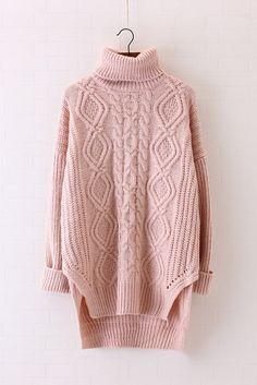 High Neck Cable Knit Irregular Loose Long Sweater