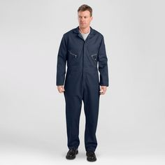 Dickies Big & Tall Deluxe Long Sleeve Blended Twill Coverall- Dark Navy L Tall