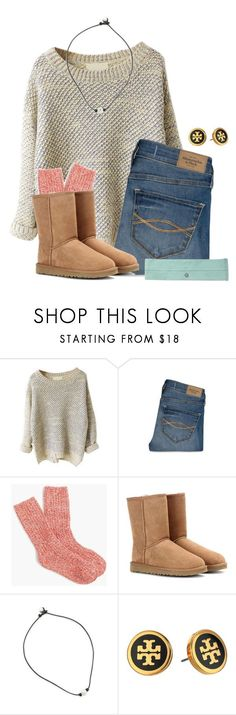 """☕️"" by flroasburn ❤ liked on Polyvore featuring Abercrombie & Fitch, J.Crew, UGG Australia and Tory Burch"