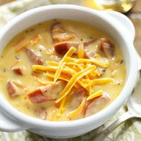 Wisconsin's Bratwurst and Beer Cheddar Chowder... now I just have to ask my Wisconsin friend what some of the ingredients are! Lol