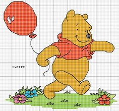 Winnie the Pooh pattern Baby Cross Stitch Patterns, Cross Stitch Charts, Cross Stitch Designs, Winnie The Pooh Pictures, Winnie The Pooh Friends, Disney Stitch, Stitch Cartoon, Swedish Weaving, C2c
