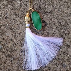 """Boho Green  Necklace✌️ OBSESSED! This is a boho style gold necklace, chain 18"""", agate inspired green pendant, white boho tassel! (Also have one in blue and grey) Jewelry Necklaces"""