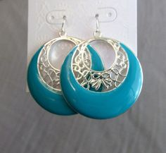 Vintage Earrings Turquoise Blue And Silver by SunburyVintageStore
