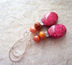 Jasper Earrings Hot Pink Orange Freshwater Pearls by LeanneDesigns, $10.00 Shop Sale, Fresh Water, Jasper, Hot Pink, Pearls, Orange, Trending Outfits, Unique Jewelry, Handmade Gifts