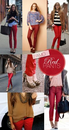 How to wear // red jeans, mint jeans style and fashion красн Mint Jeans, Red Skinny Jeans, Fall Outfits, Casual Outfits, Cute Outfits, Fashion Outfits, Outfit Pantalon Rojo, Red Jeans Outfit, Love Fashion