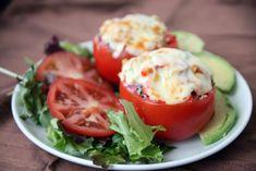 Breadless tuna melt in tomato