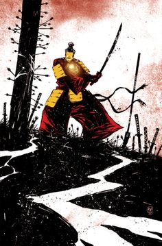 Iron Wolf, a Mash Up of Iron Man and Ogami Ittō of Lone Wolf and Cub by Skottie Young