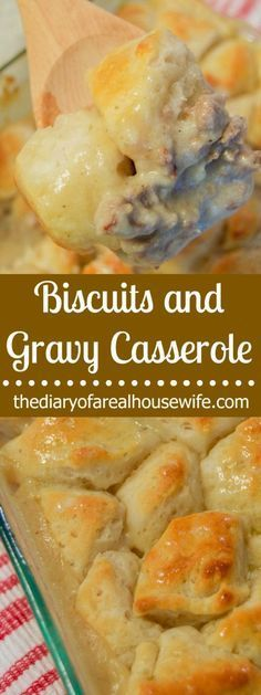 Simple Biscuits and Gravy Casserole. So good! This is for sure my favorite breakfast casserole