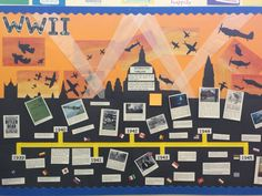 WWII Interactive Timeline Classroom Display - features kids WWII Battle of Britain themed silhouette artwork in background. Key events from WWII placed randomly on board and kids to research and moved these into the correct order. Additional questions added to provoke thought and input...