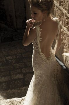 Beautiful open back wedding dress.