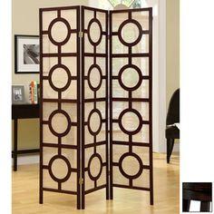 Monarch Specialties�3-Panel Cappuccino Folding Indoor Privacy Screen