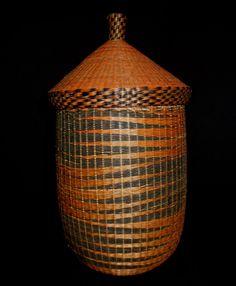 "SALE!  Tutsi Tribal Basket W/Lid 13.5"" Rwanda Africa's Finest Basketry! Made By Women by EthosEthnicArt on Etsy https://www.etsy.com/listing/232740256/sale-tutsi-tribal-basket-wlid-135-rwanda"