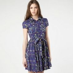 Navy Eiffel tower and poodle print dress, Rachel McAdams wears this in 'About Time' Long Sleeve Floral Dress, Short Sleeve Dresses, Pretty Outfits, Pretty Clothes, My Wardrobe, Dress Collection, Poodle, Party Dress, Dress Up