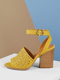 83108b3f8f Elegant Peep Toe Plain Ankle strap Yellow High Heel Chunky Laser Cut Out  Detail Ankle Strap Heeled Sandals