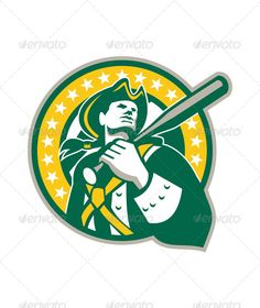 Illustration of an american patriot baseball player batter holding bat on shoulder set inside circle with stars and stripes done i