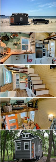 The Wanderlust tiny home: a tiny house on wheels measuring under 200 sq ft. This tiny house is made to be moved more frequently than some of the larger, luxury tiny homes on the market today Best Tiny House, Tiny House Plans, Tiny House On Wheels, Tiny House 200 Sq Ft, Tiny House Company, Tiny House Nation, Appartement Design, Little Houses, Tiny Houses
