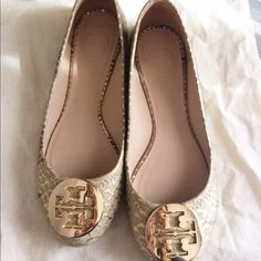 Tory Burch Reva Ballet Flats Iconic Tory Burch Flats. Almost new. Beautiful snake skin texture. Easy to go with most of you styles. I got them in wrong size so I want to get rid of them. Let me know if you have any question! Tory Burch Shoes Flats & Loafers