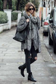 fall / winter - street style - street chic style - casual outfits - winter outfits - comfy outfits - cozy outfits - grey chunky knit scarf + grey chunky knit long cardigan + black sunglasses + black tote + black skinny jeans + black flat booties