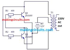 Simple Inverter Circuits for Newcomers Basic Electronic Circuits, Electronic Circuit Design, Electronic Schematics, Electronics Basics, Electronics Projects, Electrical Engineering Books, Battery Charger Circuit, Bartop Arcade, Electrical Circuit Diagram