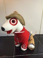 "TARGET COWBOY CHAPS RODEO BULLSEYE Plush Toy Stuffed Dog 6"" - RARE!  HTF!"