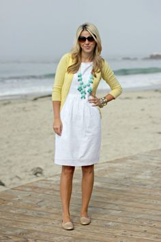 "Favorite ""Pins"" Friday-Spring Fashion - Cyndi Spivey - My Style Pinboard - white dress with yellow cardigan and blue necklace - Summer Outfits, Cute Outfits, Beach Outfits, Emo Outfits, Sweater Outfits, Stylish Outfits, White Eyelet Dress, White Dress Outfit, Yellow Cardigan"