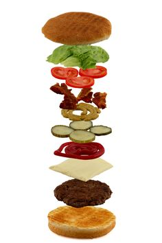 Isometric exploded view of hamburger ingredients isolated on white by Gert Lavsen, via 500px