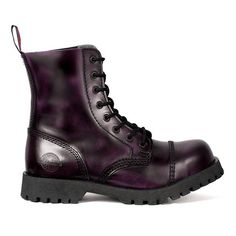 NEVERMIND Purple Leather 8-Eye Combat Boots