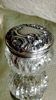 Unger Bros Sterling & Cut Crystal Vanity Jar by DustofDreams, $145.00