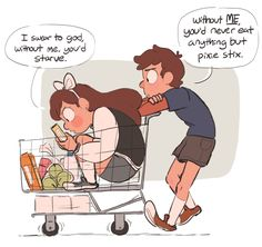 Reunion Falls - older twins, going grocery shopping