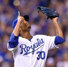 Kansas City Royals starting pitcher Yordano Ventura pointed to the heavens after he finished the sixth inning in game six of the World Series on Tuesday, October 28, 2014, at Kauffman Stadium in Kansas City, Mo.