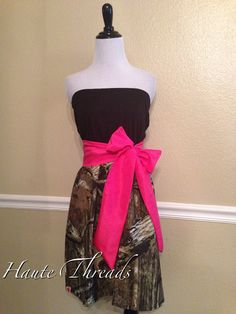 Camouflage Mossy Oak Breakup Infinity CAMO Dress with bright pink sash by hautethreadsboutique, $55.00