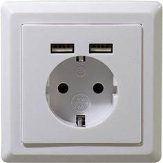 2USB Schuko Steckdose mit 2 USB Anschlüsse in Weiß.