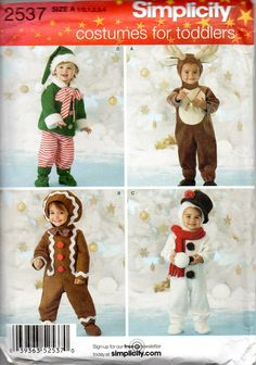 Simplicity 3594 Boys Girls Holiday Costumes Pattern Christmas Elf Reindeer Gingerbread Man Snowman by mbchills