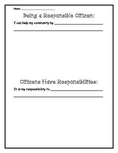 Students can tell about a way they can help their community and be a responsible citizen. It also has space to draw two pictures.