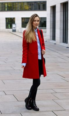 Fall Coat Trends & Red Coat by Mango - Travel Outfits Red Coat Outfit, Coat Dress, Winter Outfits For Work, Fall Outfits, Mantel Outfit, Looks Chic, Ladies Dress Design, Coats For Women, Beautiful Outfits