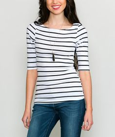 This White & Black Stripes Ahoy Tunic is perfect! #zulilyfinds