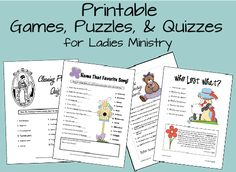 Womens Ministry: Games and Puzzle Printables lots of ideas on this website