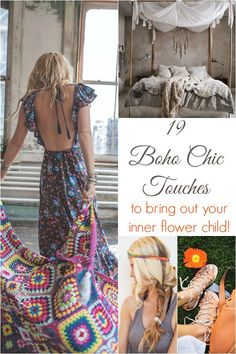 From hair ideas, fashion tips, and DIY projects we've made a collection of 19 Boho Chic Touches to bring out your inner flower child.