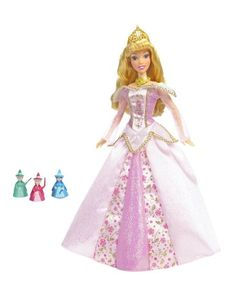 Sleeping beauty's beautiful gown lights up when she holds one of her fairy godmothers Three godmothers, Flora, Fauna and Meriwether are included Sleeping Beauty Disney Princess Dolls, Cinderella Disney, Disney Dolls, Beautiful Long Hair, Beautiful Gowns, Beauty Blender Holder, Sleeping Beauty Dress, Blue Fairy, Embellished Gown