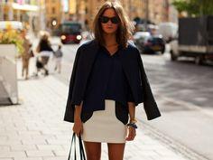 White mini skirt and blue shirt from Freshnet.com