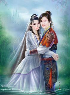 asie art liuyun - Page 3 Fantasy Love, Fantasy Art Women, Fantasy Images, Anime Fantasy, Mixed People, Fantasy Couples, L5r, Couple Art, Couples In Love