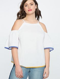 e5dd461ff642e6 Contrast Trim Cold Shoulder Top Europe Outfits