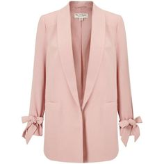 Miss Selfridge Blush Bow Sleeve Blazer ($76) ❤ liked on Polyvore featuring outerwear, jackets, blazers, pink candy, bow jacket, pink blazer, blazer jacket, pink jacket and miss selfridge jackets